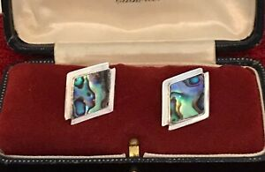 Sterling Silver & Abalone Diamond shaped Earrings ~ 2.70g  (D7G3)