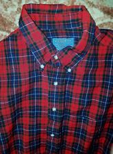 Pendleton Men's Lodge Shirt Size Large Long Virgin Wool Plaid Red Lumberjack Top