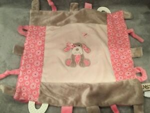 Maison Chic Puppy Dog Lovey Teether Baby Security Blanket Crinkle Pink 13.5x12