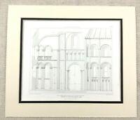 1874 Antik Aufdruck St.Nicholas Kirche Caen Normandie Romanesque Architektur