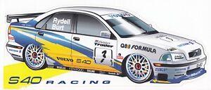 TWR VOLVO S40 RACING BTCC TOURING CAR 1997 RYDELL & BURT ORIGINAL PERIOD STICKER