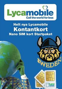 25 pcs  Sweden Lycamobile , recieve sms in Europe.