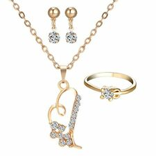 Women Love Wedding Jewelry Set Heart 18K Yellow Gold gp Necklace Earrings Ring