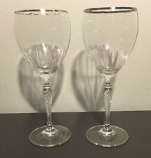 "ROYAL DOULTON OXFORD GOLD CRYSTAL 8 1/8""  Wine glass pair READ!!"