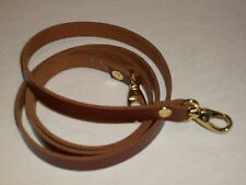 "1/2"" TAN / MEDIUM BROWN LEATHER SHOULDER BAG REPLACEMENT STRAP GOLD FITTINGS"