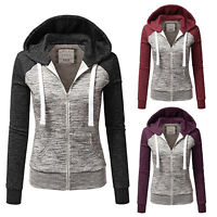 Womens Long Sleeve Color Block Zip Up Hooded Hoodie Sweatshirt Hoody Jacket Coat
