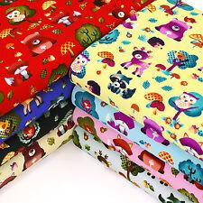 Cotton Fabric FQ Woodland Animals Floral Polka Dot Mushroom & Tree Cartoon VA89