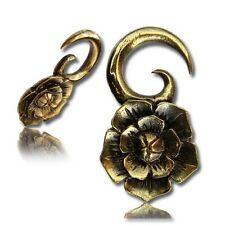 PAIR 4g (5mm) LOTUS FLOWER BLOOM BRASS EAR WEIGHTS PLUGS TUNNELS STRETCH GAUGE