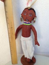 Vintage Souvenir Kenya Doll Boy In Tradtional Costume Bead Feathers Earrings 13""