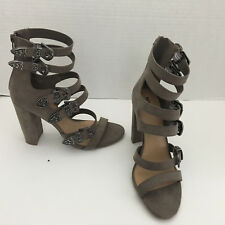 Women's Mossimo Supply Chunky Heel Buckle Faux Suede High Heel Sandals NWOB US 8