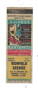 Richfield Service - Gas  Matchcover  Fresno, CALIF.  Ralph Inman & Roy Smith