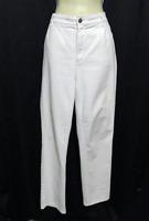 Lafayette 148 NY White Cotton Blend Denim Pants Straight Leg Pockets Size 12