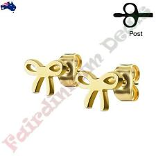 Pair of Gold Ion Plated All Stainless Steel Ribbon Ear Studs