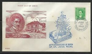 1948 Philippines FDC Dr. Jose Rizal issue #527