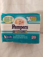 Vintage 1997 Pampers Baby-Dry Diapers Size: newborn; 20 count pack sealed - new