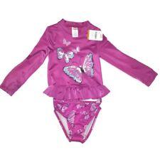 New Gymboree Swim Suit Sz 3T Toddler Bathing Pink Butterfly Girls Twin Rashguard
