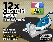 12 Custom Plastisol Heat Transfers Iron on 2 Color Max Logo Size 7.5 X 4.5 in
