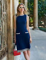 Boden Kleid - Mira Stitch Cotton Dress - Strickkleid Navy NEU - UK 10 EU 38