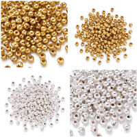 200PCS Silver/Golden Metal Round Spacer Beads 5mm Crafts Jewelry Making Findings