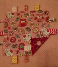 Pink Owl/Flowered/Chevron Cotton/Minky Baby Tag Ribbon Security Blanket