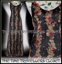 KATE MOSS TOPSHOP BROWN RED MULTI FLORAL STAR CHIFFON FISHTAIL MAXI DRESS UK 16