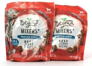 2 Bags Purina Beyond 5 Oz Mixers Plus Protein Boost Beef Jerky Recipe Compliment