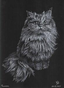original drawing A4 132VA art samovar Pastel Realism animal cat sketch