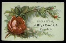Piper & Moore Dry Goods Keene N.H. Lovely Red Rose Victorian Trade Calling Card