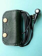 Earbud/ear phone Green real leather case with studs