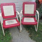 Vtg Bunting Glider Metal Chairs Lattice Basket Weave  Orig MCM 50's  Red & White