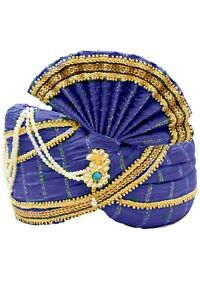MPG7000 Blue & Gold Indian Maharaja Turban, Wedding Pagri, Safa, Bollywood Hat