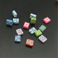 100pcs Mixed Color Cube Fimo Beads Polymer Clay Floral Beads Findings 13x10mm