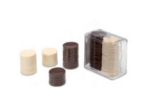 24 Spare Draughts Backgammon Tokens Checkers Board game Counters 2.5cm & case