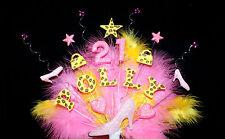Zapato, Bolso de mano, cuentas, plumas Personalizado De Cumpleaños Pastel Topper cualquier nombre y edad