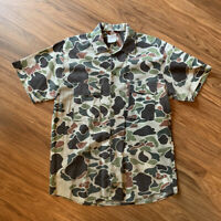 Vintage Mens Walls Hunting & Fishing Woodland CAMO Button Up S/S Size Medium