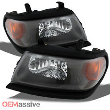 Fit 00-04 Mitsubishi Montero Sport Replacement Black Headlights Left/Right