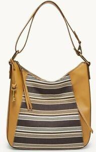 Fossil Talia Hobo Crossbody Shoulder Bag Tan Stripes SHB2778558 $228 Retail
