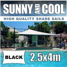 HEAVY DUTY SHADE SAIL-2.5x4M RECTANGLE IN BLACK, 2.5x4m,