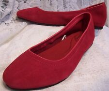 RED LEATHER CROCS BALLET FLATS SLIP ON SHOES SIZE 5 1/2