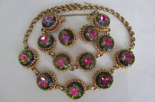 Vintage Schiaparelli Watermelon Gold Tone Earrings Bracelet Necklace Parure
