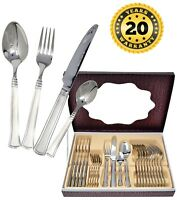 24Pc Swiss Stainless Steel Cutlery Set Tableware Dining Utensils Sets Boxed 65C