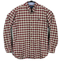 Polo Ralph Lauren Long Sleeve Oxford Shirt Plaid Mens Sz M Red White Black EUC