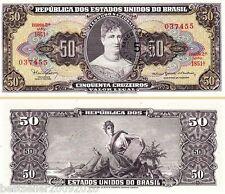 BRAZIL 5 CENTAVO ON 50 CRUZADOS AUNC # 933