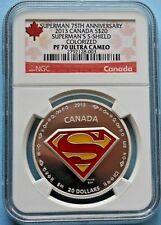 2013 SUPERMAN S-SHIELD SILVER COIN 75th ANNV CANADA $20 COLORIZED PF70 UC w/BOX