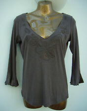 PER UNA M&S Mocha Brown Embellished Jersey Top Size 10 Satin, Beaded WORN ONCE