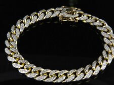 4.00 TCW Round DEF Moissanite Mens Link Cuban Bracelet 14k Yellow Gold Finish