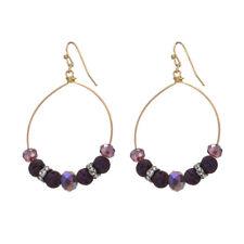 Lava Rock and Crystal Beads Gypsy Boho Wire Hoop Earrings