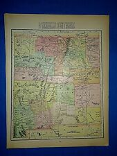 Vintage 1899 Atlas Map ~ NEW MEXICO TERRITORY ~ Antique & Authentic ~ Free S&H