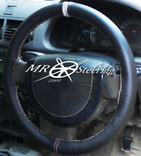 FOR VAUXHALL SIGNUM 2003-08 BLACK LEATHER STEERING WHEEL COVER +LIGHT GREY STRAP