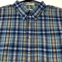 Arrow Tournament Men Short Sleeve Button Up Shirt XXL 2XL Blue Multicolor Plaid